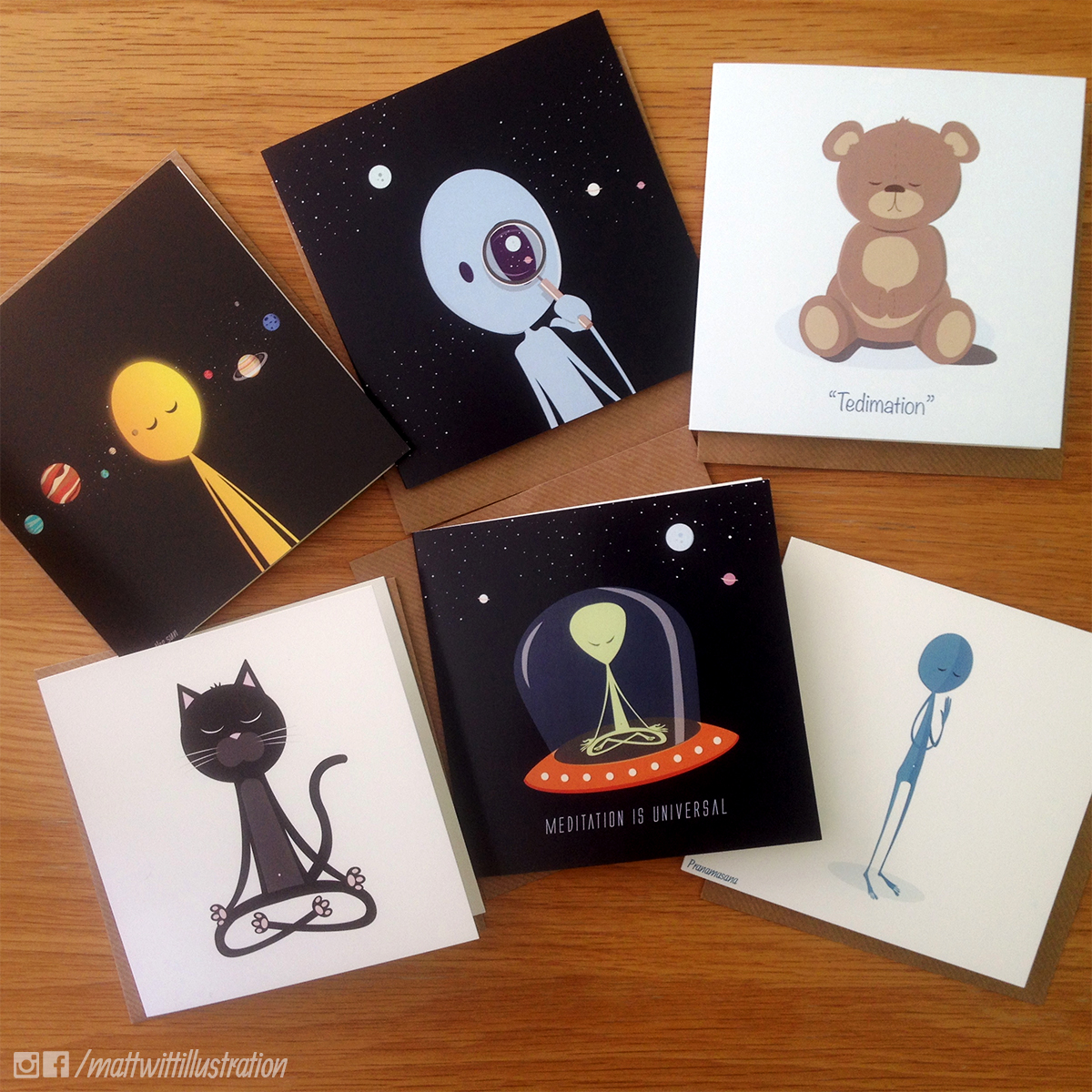 Meditation Greeting Cards Pack Of 6 Illustrated Greetings Cards